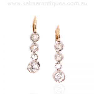 Gold and platinum Art Deco diamond drop earrings from the 1920's
