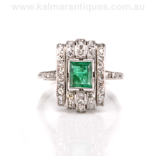 Platinum Art Deco emerald and diamond ring