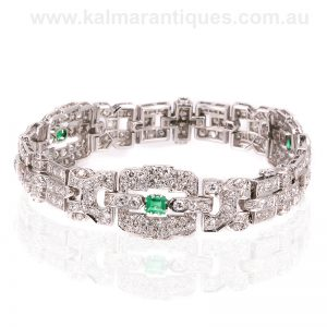 Art Deco emerald and diamond bracelet dating from the 1920's