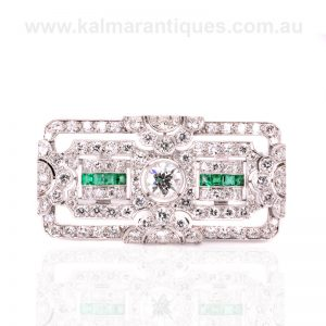 Incredible Art Deco natural emerald and diamond brooch