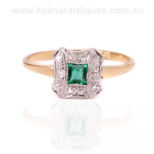 18 carat yellow gold and platinum Art Deco emerald and diamond ring