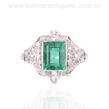 Art Deco emerald and diamond ring hand made in platinum in the 1920's