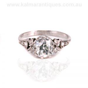 Hand made Art Deco European cut diamond engagement ring