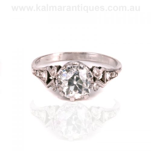 Hand made Art Deco European cut diamond engagement ring