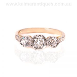 Art Deco diamond engagement ring in 18ct gold and platinum