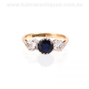 Art Deco sapphire and diamond engagement ring made in the 1930's