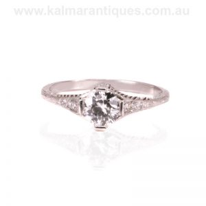 Art Deco diamond engagement ring hand made in platinum in the 1930's