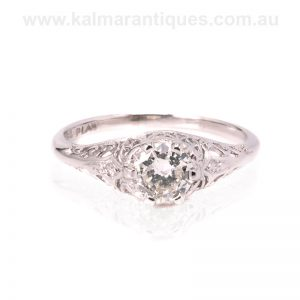 Art Deco diamond engagement ring made in platinum in the 1930's