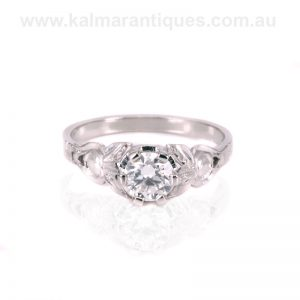 Hand made vintage diamond engagement ring from the Art Deco era