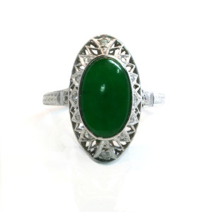 Platinum Art Deco jade and diamond ring