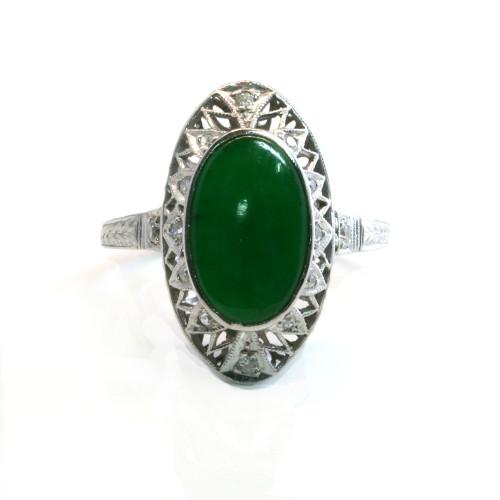 Platinum Art Deco jade and diamond ring
