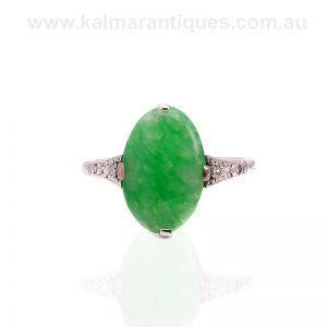 Art Deco jade and diamond ring made in the 1920's