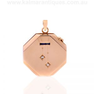 14ct gold Art Deco sapphire and diamond photo locket