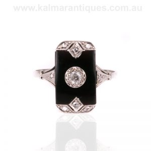 Art Deco onyx and diamond ring dating from the 1920's