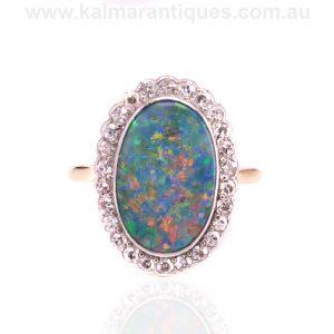 Art Deco solid Lighting Ridge black opal and diamond ring