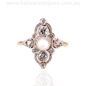 Art Deco pearl and diamond ring in gold and platinum