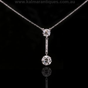 1920's era platinum Art Deco diamond drop pendant
