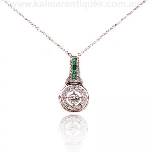 Art Deco emerald and diamond drop pendant