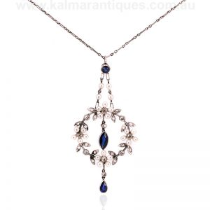 Art Deco era sapphire, diamond and pearl pendant dating from the 1920's