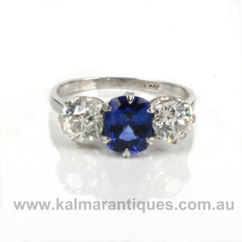 1920's era sapphire and diamond engagement ring.