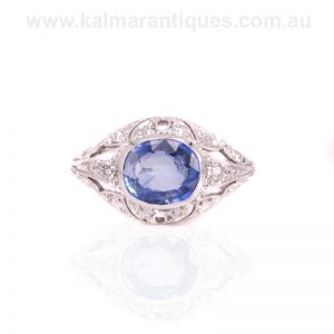 Art Deco sapphire and diamond engagement ring