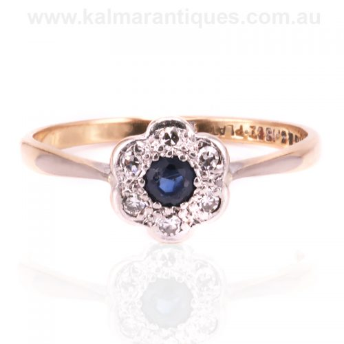Art Deco sapphire and diamond cluster ring in gold and platinum