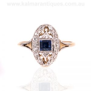 Gold and platinum 1920's Art Deco era sapphire and diamond ring