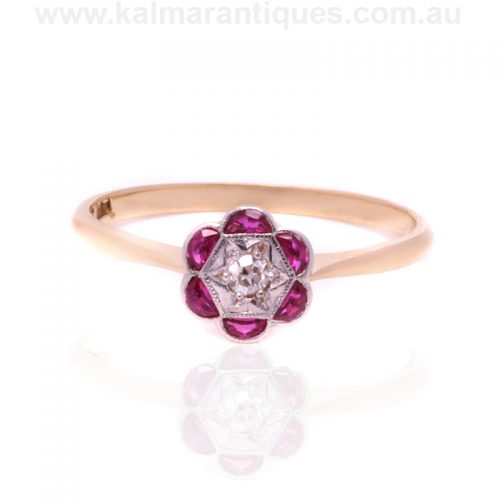 Art Deco ruby and diamond fancy cluster ring from the 1920's