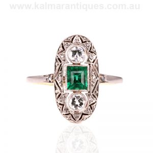 Emerald and diamond ring from the Art Deco era of the 1920's