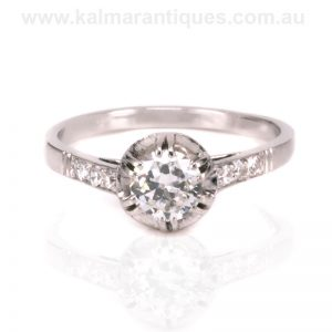 Art Deco diamond engagement ring handmade in platinum the 1920's