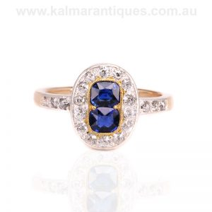 Art Deco sapphire and diamond ring perfect as an engagement ring