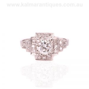 Art Deco diamond engagement ring of geometric design