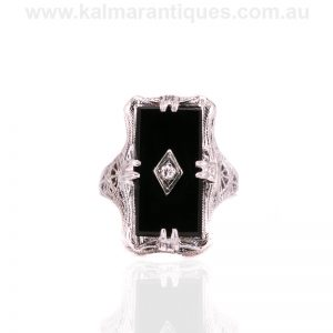 14 carat white gold Art Deco onyx and diamond ring