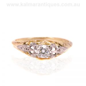 Hand made Art Deco engagement solitaire diamond ring