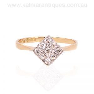 Offset square diamond ring made during the Art Deco era of the 1920's