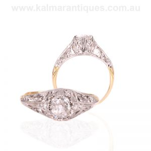 Art Deco diamond engagement ring set with a mine cut diamond