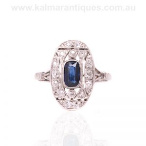 Hand made platinum sapphire and diamond ring from the Art Deco era
