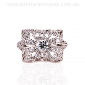 Art Deco diamond ring hand made in platinum in the 1920's