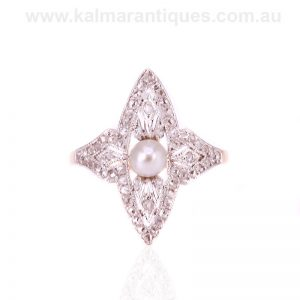 Lozenge shaped Art Deco diamond and pearl ring from the 1920's