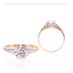 Art Deco diamond engagement ring hand made in the 1930's.