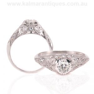 Exquisite Art Deco diamond engagement ring with the finest detail