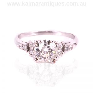 Art Deco diamond engagement ring hand made in platinum