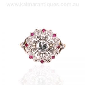 Incredible fancy Art Deco ruby and diamond cluster ring