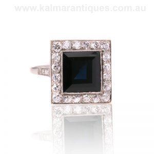 Art Deco Sapphire and diamond ring handmade in platinum