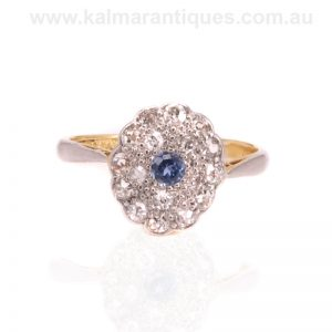 Art Deco sapphire and diamond ring made in the 1930's