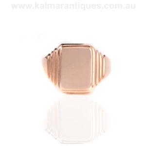 Rose gold Art Deco signet ring