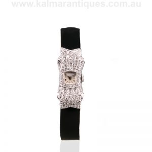 Ladies platinum Art Deco diamond watch in the form of a bow