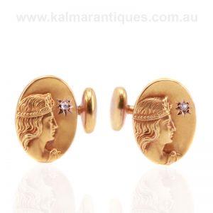 Antique Art Nouveau cufflinks made in 18 carat gold