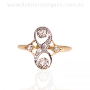 Art Nouveau diamond ring hand made in 18 carat gold and platinum