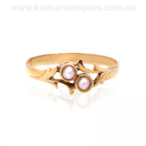 18 carat yellow gold Art Nouveau pearl ring made in France in the 1890's